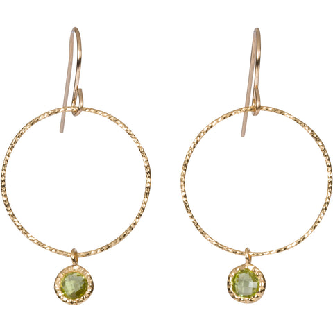 Peridot Gem Hoop Earrings