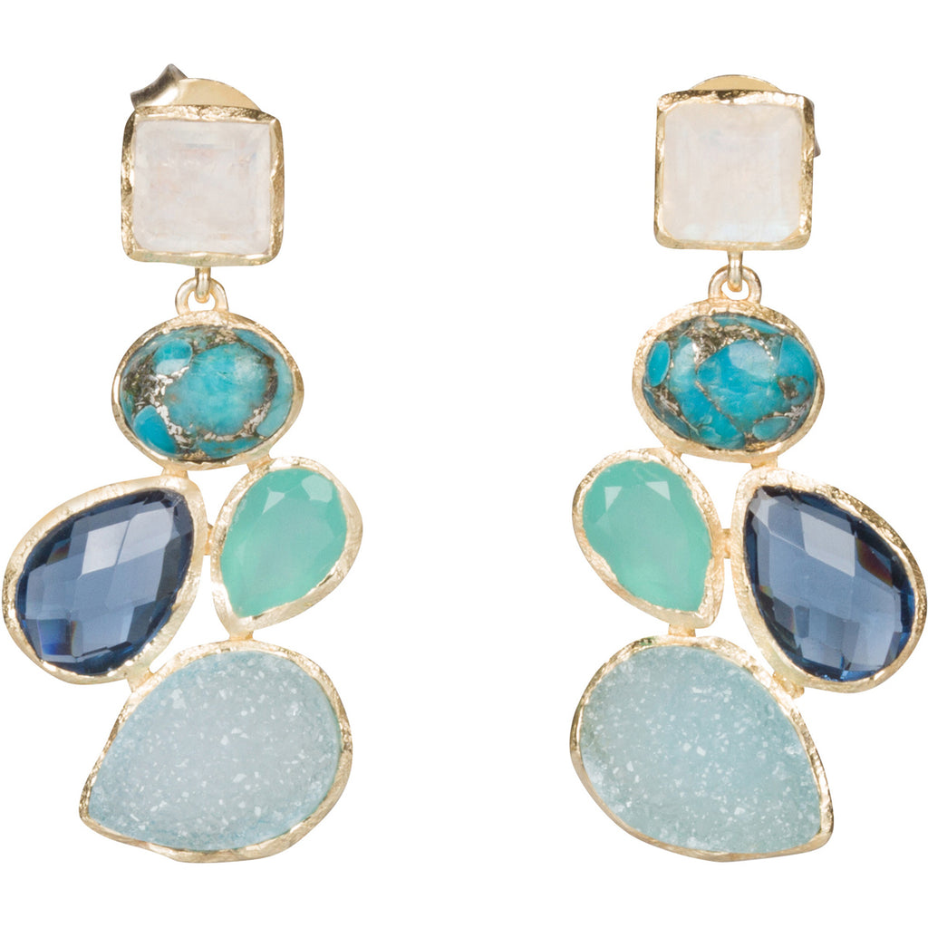 Druzy, Aqua, Moonstone and Turquoise Earrings