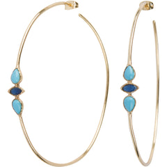 Large Turquoise & Sapphire Hoop Earrings