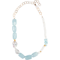 Aquamarine and Pearl Asymmetrical Necklace