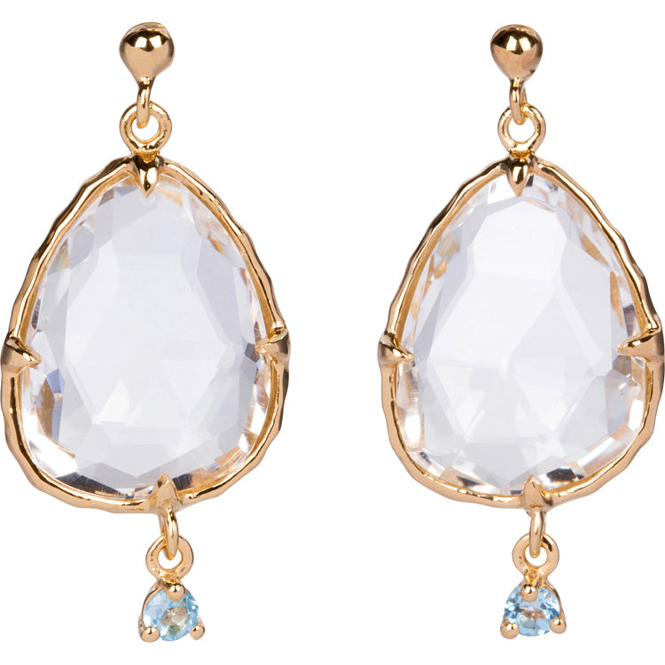 Crystal And Blue Topaz Earrings