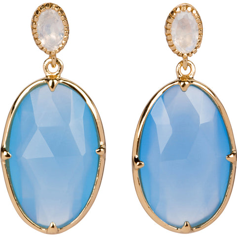 Blue aqua chalcedony and Moonstone