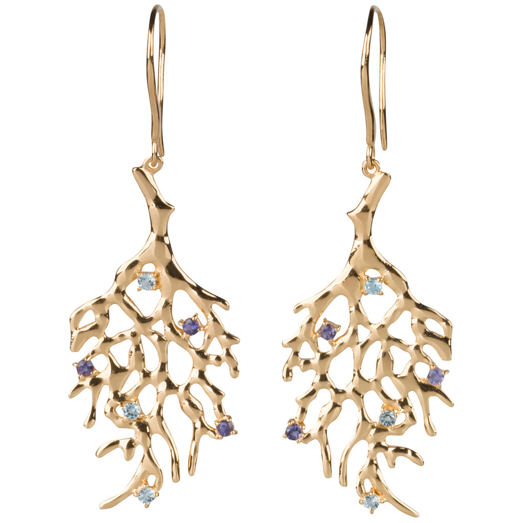 Blue Topaz and Iolite Branch Earrings