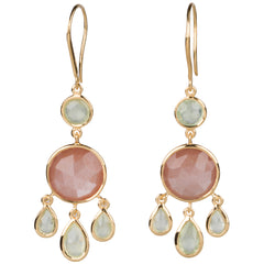 Peach Moonstone and Prehnite Earrings