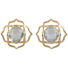 Green Amethyst Lotus Stud Earrings