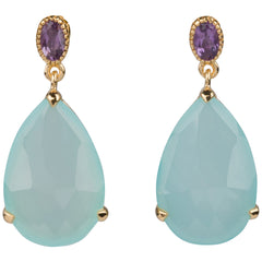 Brazilian Amethyst and Aqua Drop Earrings