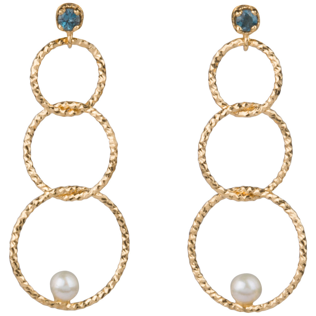 Blue Topaz and Pearl Hoop Earrings