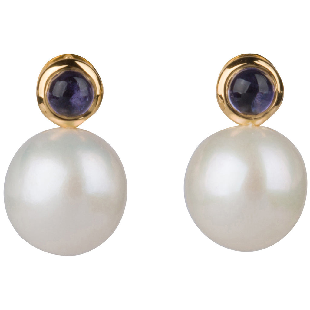 Classic Pearl and Iolite Studs