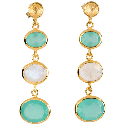 Aqua and Moonstone Drop Earrings