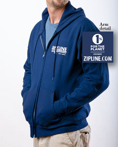 Men's Zip Logo Hoodie Organic Cotton Sweatshirt