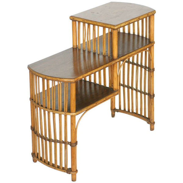 Vintage Art Deco Stick Rattan Side Table with Mahogany Table Top