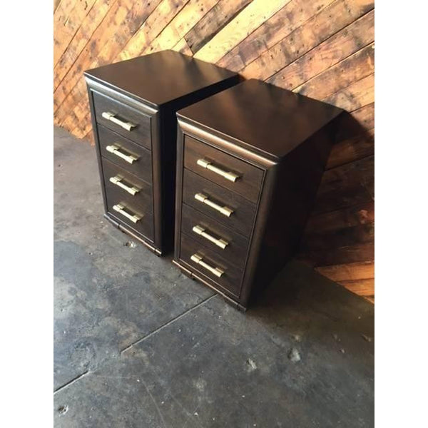 Mid-Century Nightstands in Blackened Oak by Raymond Loewy - City of Z Design