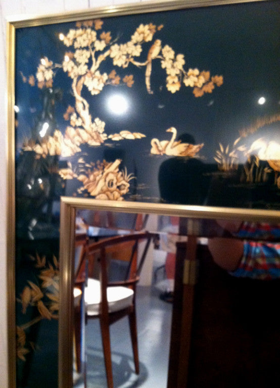 Vintage Chinoiserie, Black & Gold Large Wall Mirror by LaBarge - City of Z Design