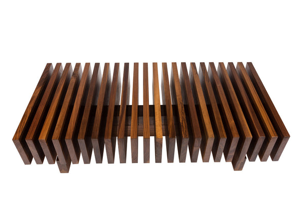 The Alexei Coffee Table | Modernist Slatted Solid Walnut