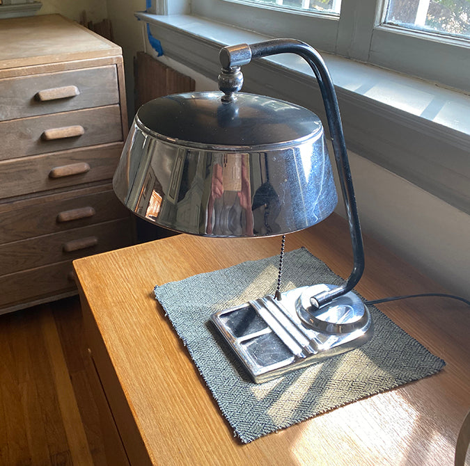 Load image into Gallery viewer, Vintage Art Deco Desk Lamp Chrome with black enamel - City of Z Design