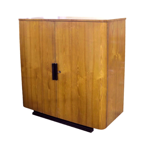 Art Deco Cabinet in Oak with Black Base