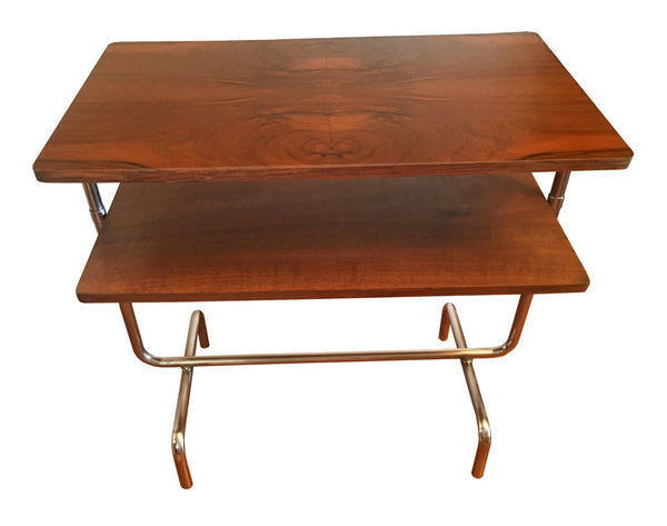 Vintage 1930's Bauhaus Table in Book Matched Walnut Veneer - City of Z Design