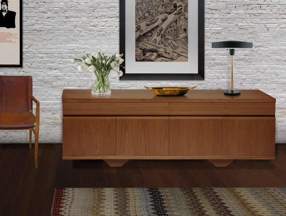 Mid-Century Blonde Teak Credenza with Clean Lines - City of Z Design
