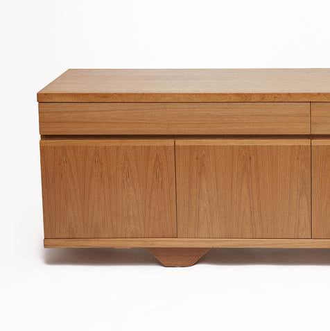 Mid-Century Blonde Teak Credenza with Clean Lines