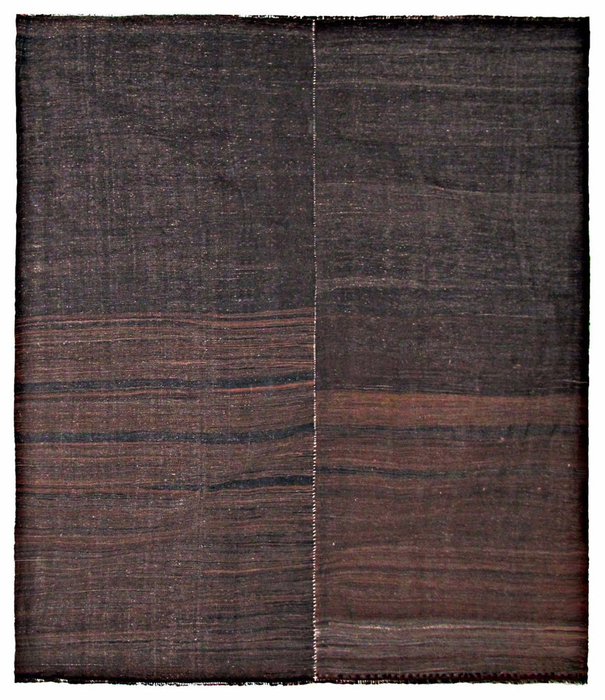 Vintage Turkish Kilim Flatweave Rug in Gradient Brown Tones - City of Z Design
