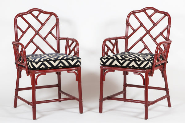 Pair of Vintage, Red lacquered, Bamboo, Chinese Chippendale Armchairs with custom cushions - City of Z Design
