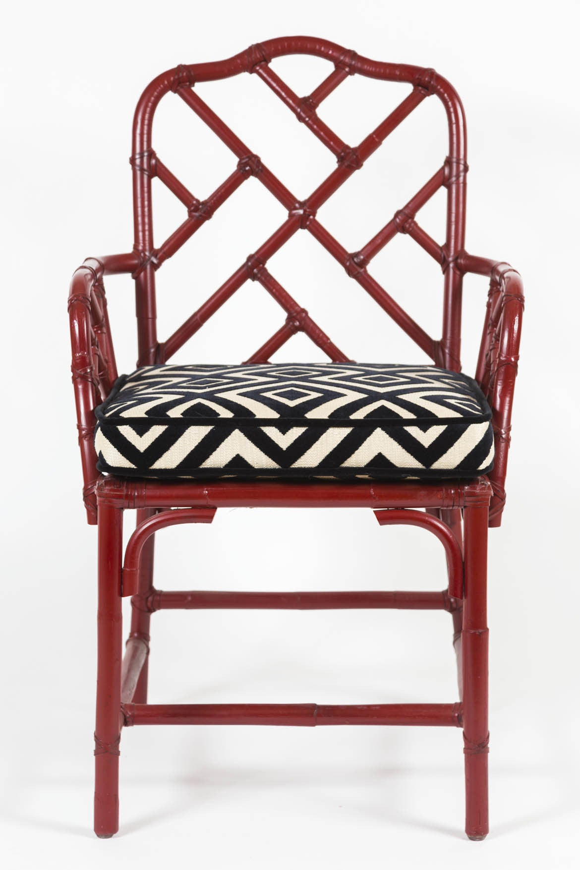 Bamboo chippendale chairs -  Pair Of Vintage Red Lacquered Bamboo Chinese Chippendale Armchairs With Custom Cushions
