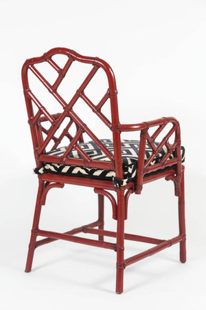 Pair of Vintage, Chinese Red, Bamboo, Chinese Chippendale Armchairs with custom cushions - City of Z Design