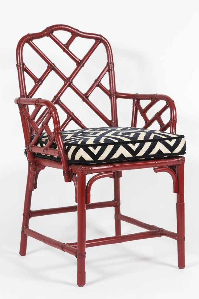 Load image into Gallery viewer, Pair of Vintage, Chinese Red, Bamboo, Chinese Chippendale Armchairs with custom cushions - City of Z Design