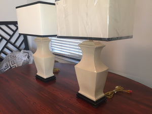 Pair of Mid Century Crackle Glaze Chinoiserie Lamps - City of Z Design