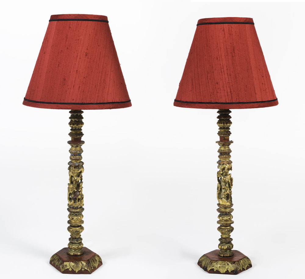 Pair of Antique, Hand Carved, Chinoiserie Console Lamps