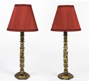 Pair of Antique, Hand Carved, Chinoiserie Console Lamps - City of Z Design
