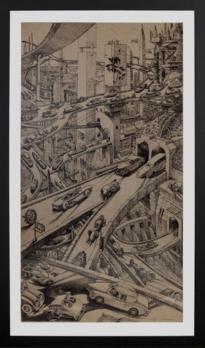 Original, Large, Signed, Pen & Ink Drawing on Butcher Paper by Alex Tavoularis - City of Z Design