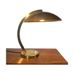 Vintage French Deco Desk Lamp with Domed Metal Shade - Brass - City of Z Design