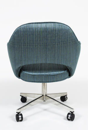 Vintage Saarinen Executive Swivel Armchair reupholstered in Turquoise Herman Miller fabric - City of Z Design