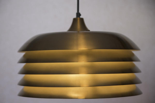 Mid-Century Pendants, Spun Aluminum, Louvered by Hans-Agne Jakobsson Pendants - City of Z Design