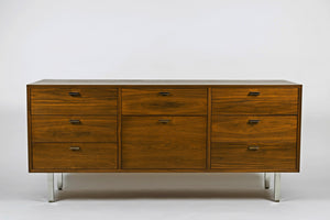 Vintage Harvey Probber Walnut Credenza with Chrome Plated Legs - City of Z Design