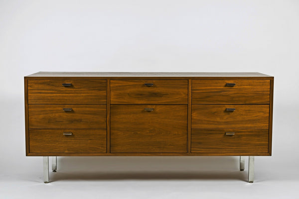 Vintage Harvey Probber Walnut Credenza with Chrome Plated Legs