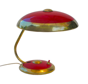 Vintage Mid Century German Table Lamp, Red with Brass Trim - City of Z Design