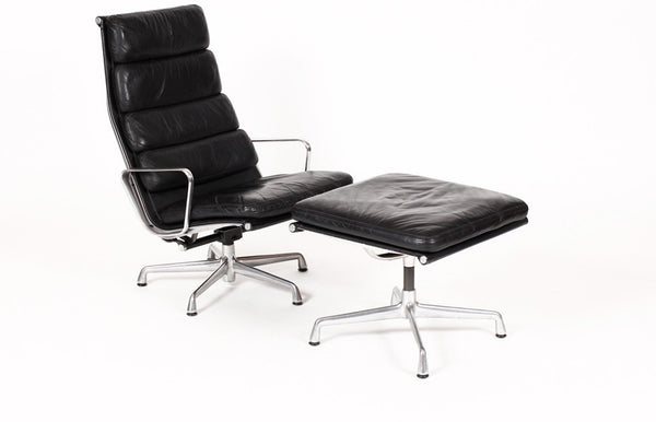 Vintage Herman Miller Aluminum Group Lounge Chair and Ottoman in Black Leather - City of Z Design