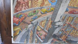 Original, Signed Metropolis Futurismo, Pen & Ink and Watercolor - City of Z Design