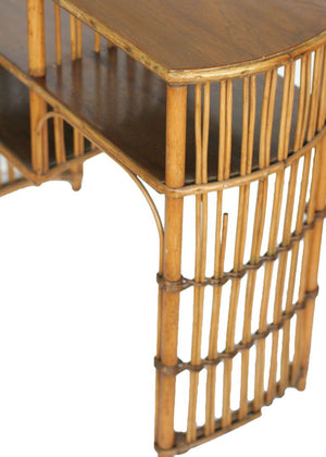 Vintage Art Deco Stick Rattan Side Table with Mahogany Table Top - City of Z Design