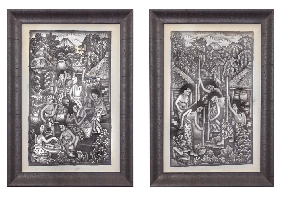 Vintage 1930's Ink Wash Paintings on cloth attributed to Dewa Kompiang Kandel Roeka