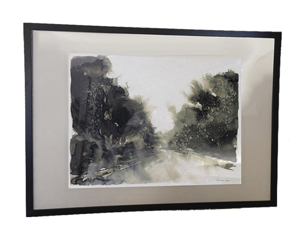 Original Ink Wash Landscape Painting in Black and White by, Alex Tavoularis