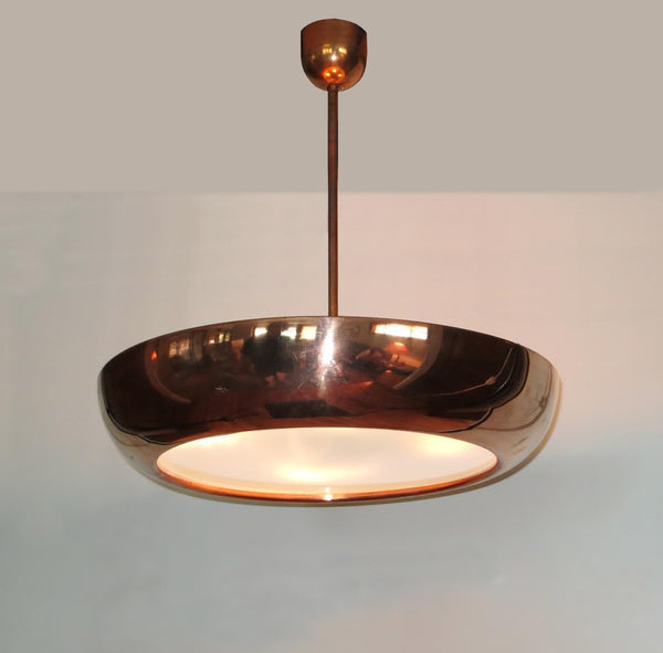 Vintage Bauhaus Copper Pendant by Josef Hurka - City of Z Design