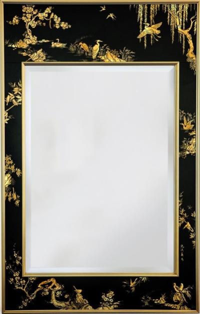Vintage chinoiserie wall mirror black gold city of z design mid century chinoiserie wall mirror black and gold eglomise hand painted by labarge amipublicfo Image collections