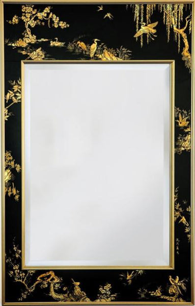 Mid-Century Chinoiserie, Wall Mirror Black and Gold Eglomise Hand Painted by LaBarge - City of Z Design