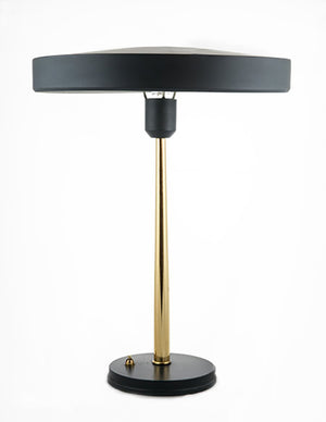 Mid-Century Desk Lamp by, Louis Kalff with tapered brass stem - City of Z Design