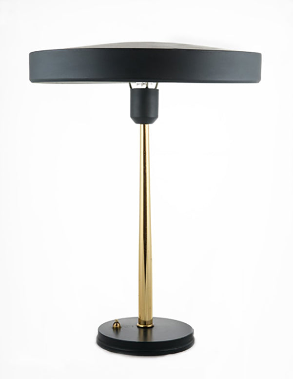 Mid-Century Desk Lamp by, Louis Kalff with tapered brass stem
