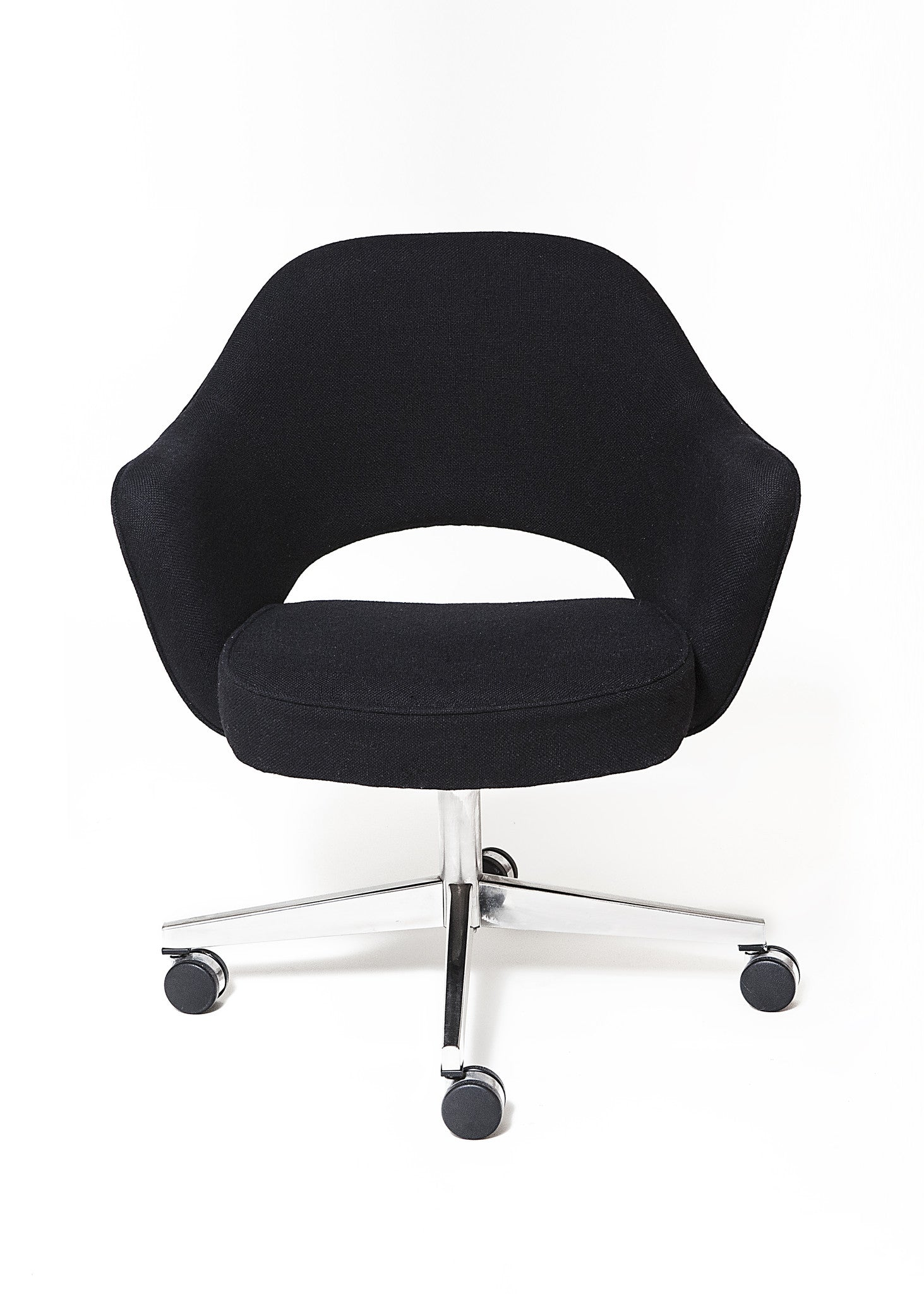 Vintage Eero Saarinen Executive Swivel Chair Upholstered In Black Wool  Weave   City Of Z Design