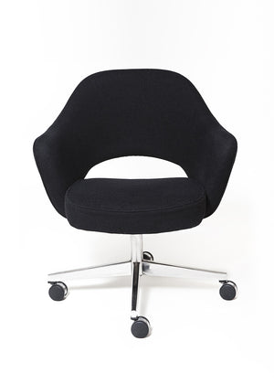 Vintage Eero Saarinen Executive Swivel Chair upholstered in Black Wool weave - City of Z Design